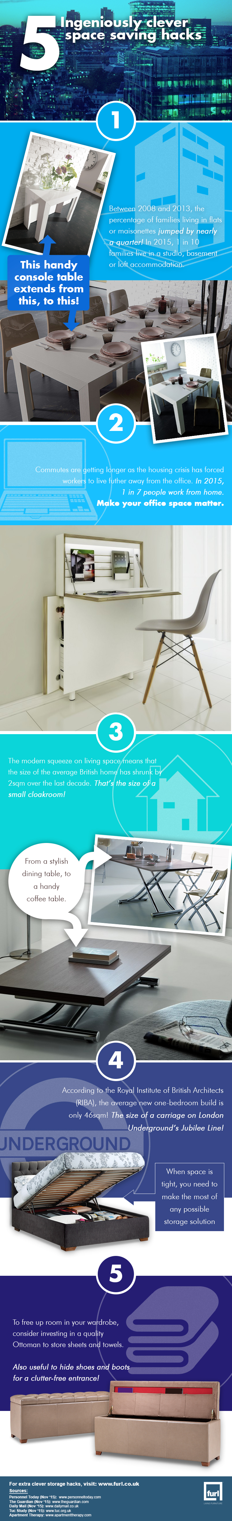 5 ingeniously clever space saving hacks infographic
