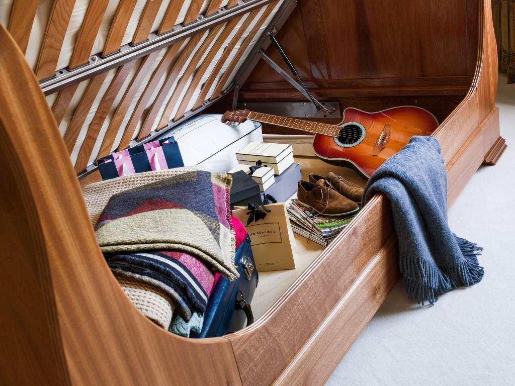 Sleigh Bed with Storage Underneath