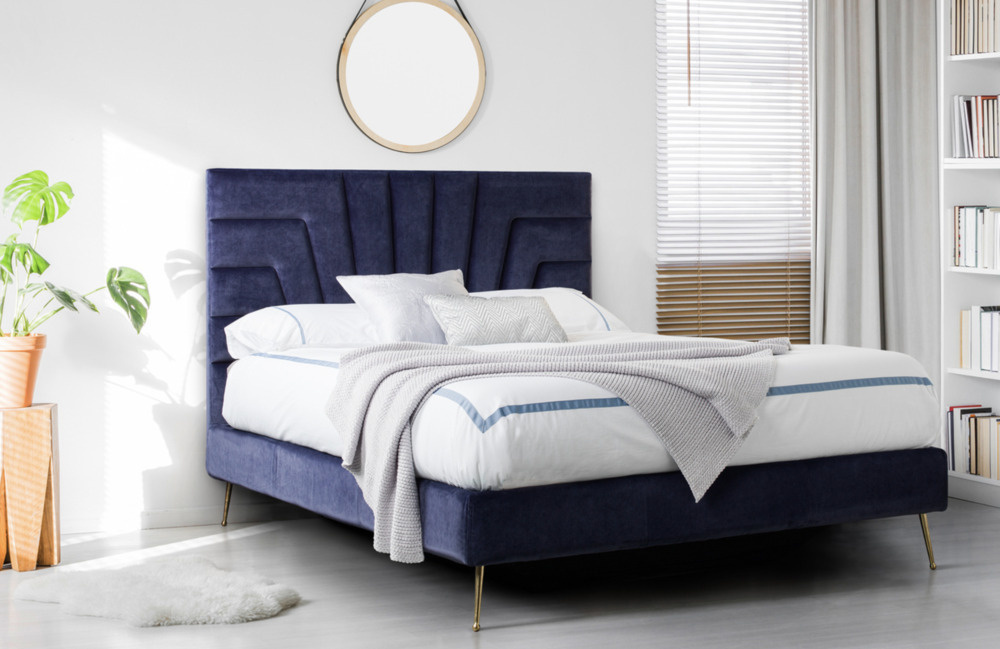 Mirage, King Size, Blue Velvet Cleopatra Integrated Headboard.