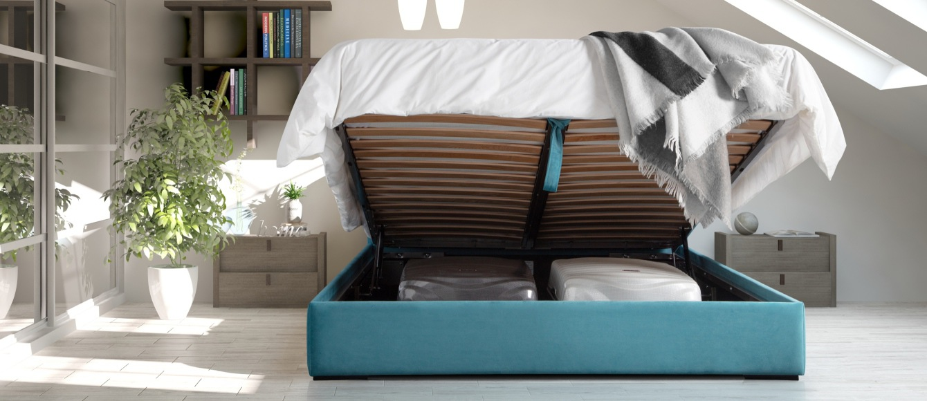 Low space saving storage bed