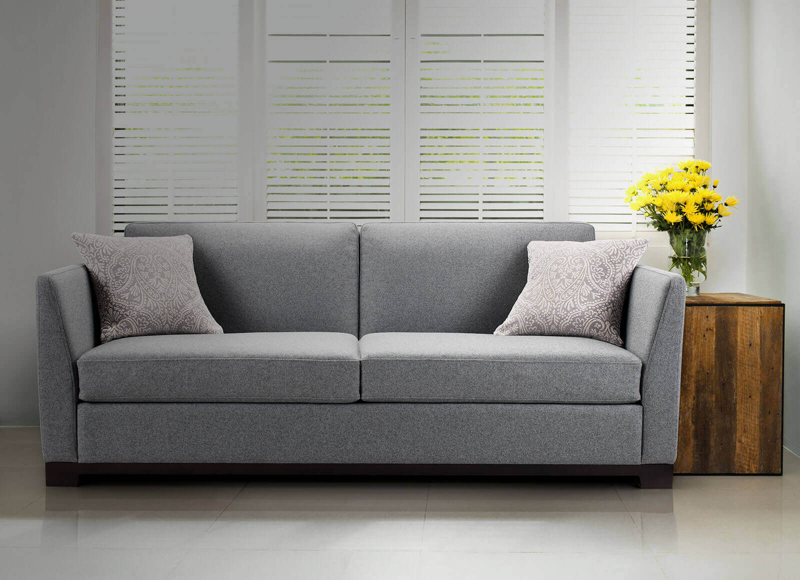 Grey Sofa Bed Grey Fabric or Leather
