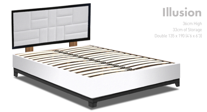 New Double Illusion Storage Bed, Suede Ice, Mondrian Heabaoard